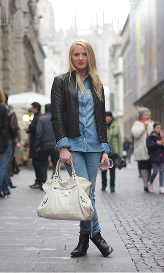 EMILIE HIGLE - Replay Leather Jacket, Replay Denim Shirt, Replay Jeans, Balenciaga Bag, Maje Boots - DOUBLE DENIM