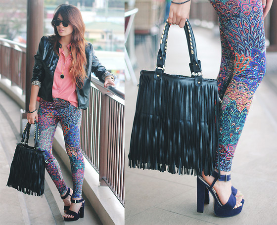 Cheyser Pedregosa - Romwe Peacock Printed Leggings, All Dolled Up Leather Jacket, Romwe Pink Button Down, Parisian Fringe Bag, Boohoo Plum Heels - Peacock & Fringe