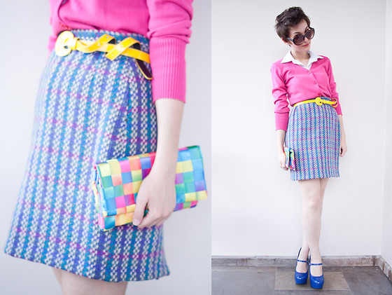 Barbara Zanella - Poema Pink Cardigan, Vintage Skirt, Dylan Clutch - Paint The Sky Pink