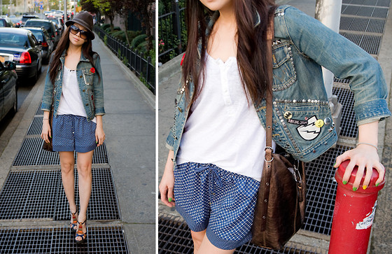 Fashion Infusion - Marc By Jacobs Studded Denim Jacket, Zara Pajama Looking Shorts - Lazy day