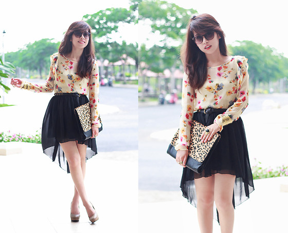 Linda Tran N - Floral Blouse, Leopard Print Clutch, Mullet Skirt - Always look on the bright side