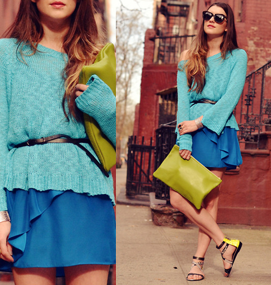 Laura Ellner - Matiko Sandals, Karen Walker Sunglasses, Lf Sweater, Urban Outfitters Dress, American Apparel Clutch - The Blues