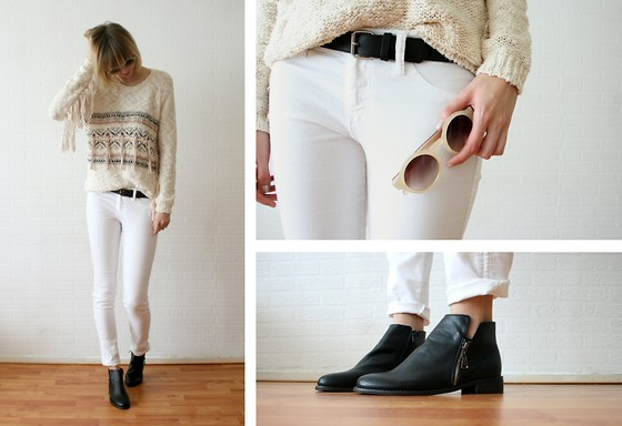 Sietske L - Romwe Sunglasses, River Island Jumper With Fringes, H&M White Jeans, Romwe Shoes - Fringes.
