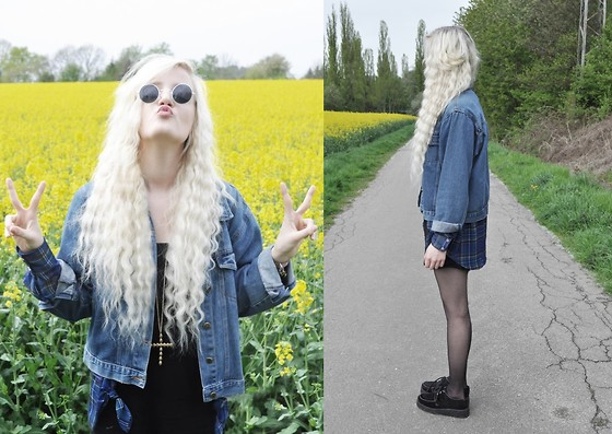 Charlie M. - My Best Friends Mom Jeans Jacket, American Apparel Blouse, Underground Creepers, Gina Tricot Necklace, H&M Playsuit - Hello yellow