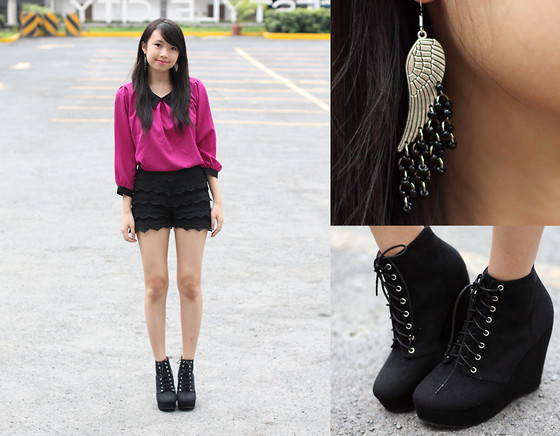 Sophie Ramos - Little Nook Fuchsia Peter Pan Collared Top, Onethedot Onlineshop Lace Shorts, Rk Manila Wings Earrings - Fuchsia Fusion