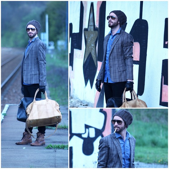 PHILIPP GOMES - Galliano Sun Glasses, Hudson Shoes, Pieces Accessories Bag Leather, Acne Studios Pants, Imperial Jacket, H&M Cap, The Kooples Denim Shirt - NOWADAYS