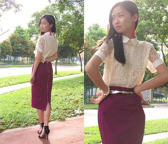 Uli C - Dressabelle Floral Top, Asos Pencil Skirt, H&M Earrings, Zara Heels, Hong Kong Silver Belt - Daisy