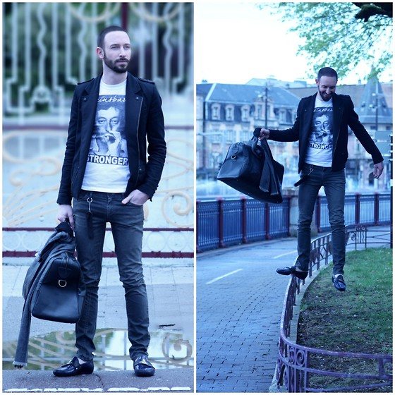 PHILIPP GOMES - Blackboyplace T Shirt, Acne Studios Pants, The Kooples Scarf - GAINSBOURG MEMORY