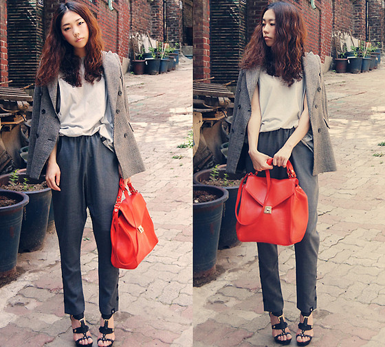 Gon Cho - Hupot Gray Wrap Skirt Pants, Zara Blazer, Zara Bag - Lonely *