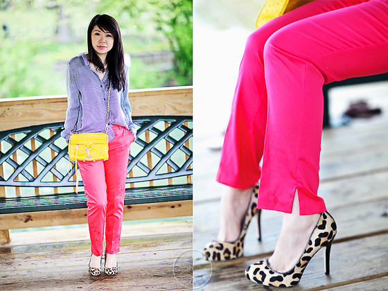 Melanie Y - Zara Striped Blouse, Rebecca Minkoff Crossbody Bag, H&M Hot Pink Pants, Ivanka Trump Leopard Pumps - A Rainy Day Brightened by Colors