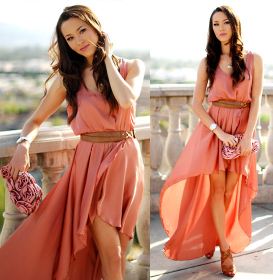 Jessica R. - Love Peach Asymmetrical Maxi Dress, Lulu's Townsend Rosette Purse, Aldo Leather Strappy Heels - Love is in the Air