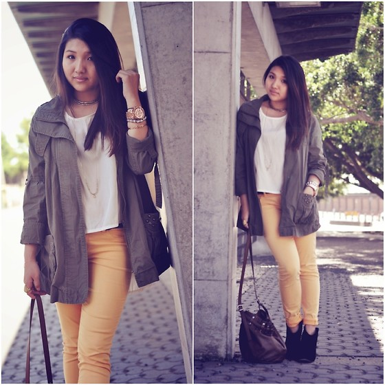 Karen - Myth Conception Silk Tee, Sportsgirl Khaki Jacket, Blank Denim Yellow Jeans, Rmk Black Boots - 120505