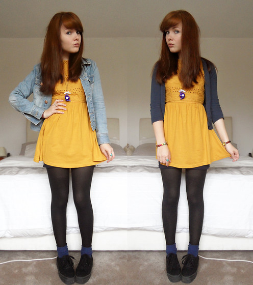 Paige Joanna Calvert - Primark Yellow Dress, Primark Denim Jacket, Primark Basic Blue Cardie, Topshop Blue Socks, H&M Black Flat Shoes, Asda Tights - You can dish it but you can't take it.