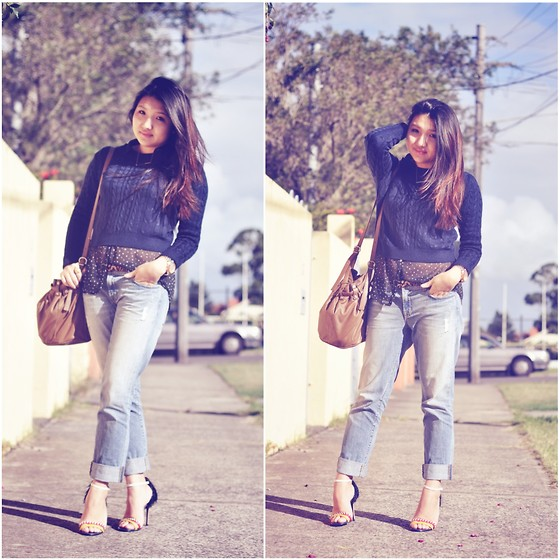 Karen - Glassons Navy Cable Knit, Zara Star Print Sheer Blouse, J Brand Aidan Slouchy Jeans, Aldo Rise Heels, Witchery Bag - Casual saturday.