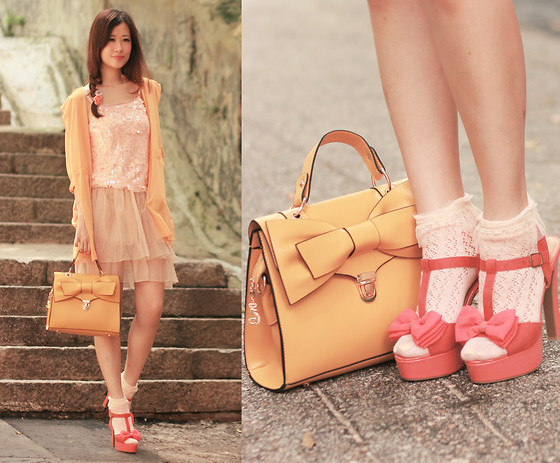 Mayo Wo - Yesstyle Orange Chiffon Jacket, Romwe Apricot Sequined Top, Yesstyle Tiered Tulle Skirt, Romwe Yellow Bowknot Bag, Sugarfree Shoes Coral Bow Heels - Sun glow & coral