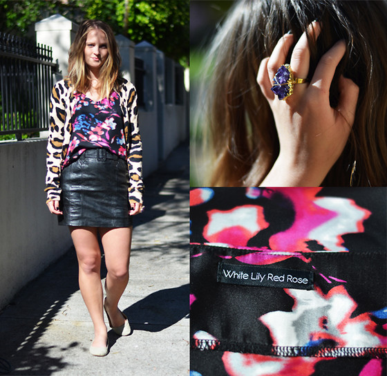 Jackie Steen - White Lily Red Rose Wet Flowers Top, Vintage Leather Skirt, H&M Leo Cardi, Wolf Circus Crystal Rock Ring - Circus Flowers