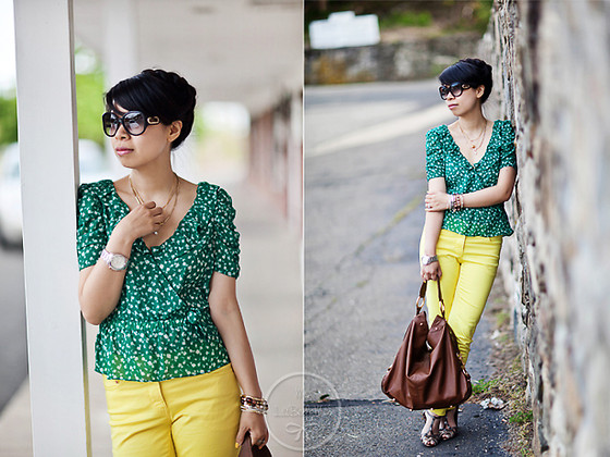 Melanie Y - Chloé Sunnies, Michael Kors Watch, Forever 21 Green Floral Blouse, H&M Yellow Denim, Rebecca Minkoff Nikki Hobo, Prada Sandal Pumps - Bright Color Denim & Green Florals