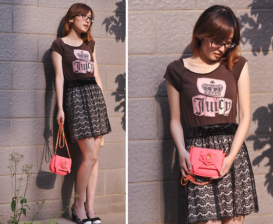 Anne King - Juicy Couture T Shirt, Beams Lace Skirt - Oh,hot pink~:D  {Crown Ribbon Flower}