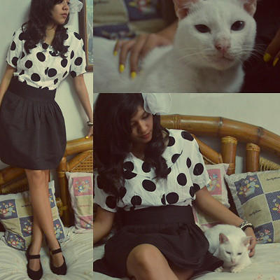 Erika Aguilar - Esprit Polka Dotted Top, Jacob Black Skirt, Peter Keiser Black Shoe With Gold Buckle, Milky The Cat :), Sm Dept. Store White Bow Clip - Honey, have you seen the Cat?