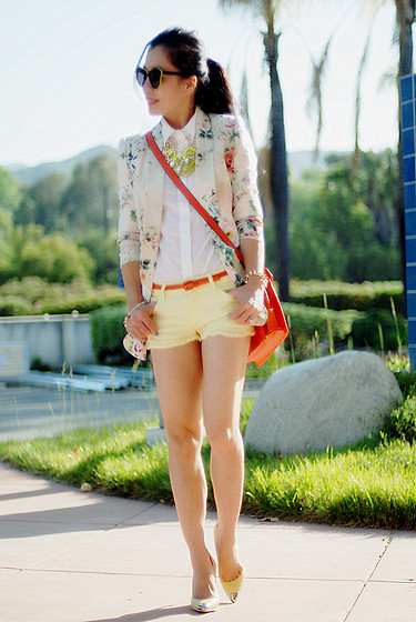 Hallie S. - Truth And Pride Floral Blazer, Zara Shorts, Zara Pumps - Neck Party