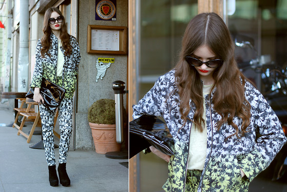 Anastasia Shepelevich - Prada Sunglasses, Clickontrend Clutch, H&M Suit - FLOWERS