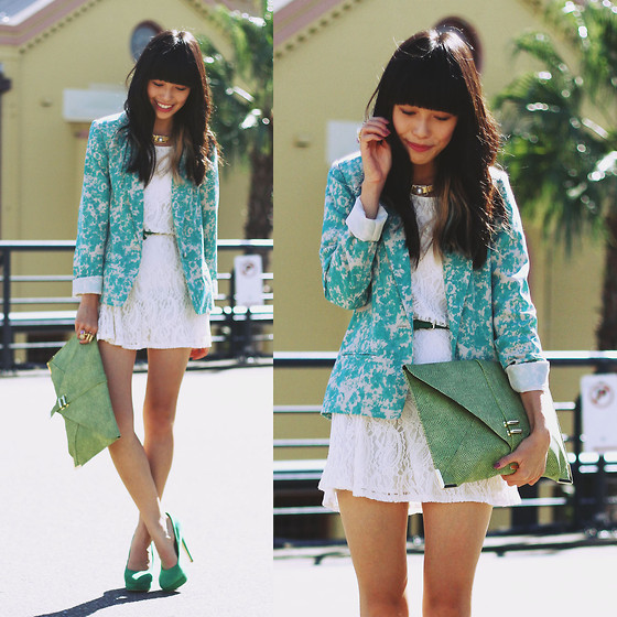 Connie Cao - Atmosphere Blazer, Monki Dress, Asos Clutch, Asos Heels, Vintage Necklace - Shades of green