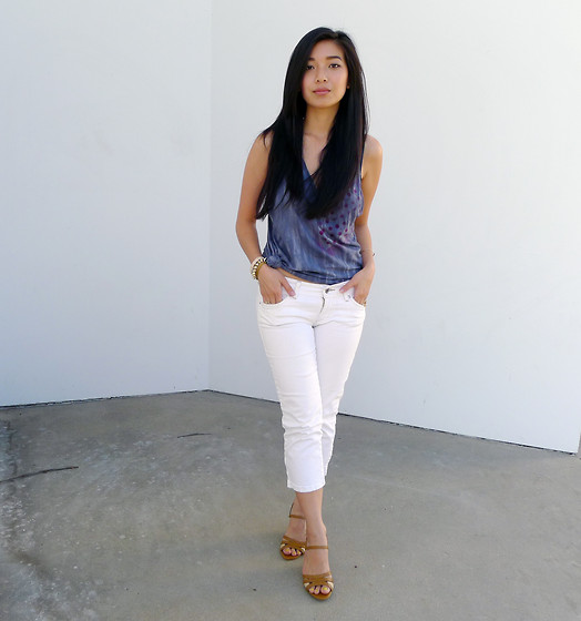Stephanie Liu - Kelly Wearstler Tank, Burberry Espadrille Wedges, Guess? White Capri - Dusk and summer