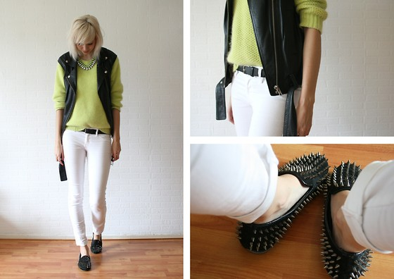 Sietske L - H&M Leather Vest And Necklace, Romwe Neon Jumper And Shoes - Fluffy neon.