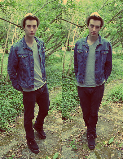 Tim Roddy - Vintage Hat, Vintage Denim Jacket, Jeans Black Pants, Creepers Shoes - Shade