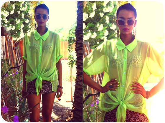 Luna Nova - Thrifted Sheer Neon Blouse, Thrifted Leopard Bandage Skirt, Vintage 70's Floral Sunglasses - True Believer