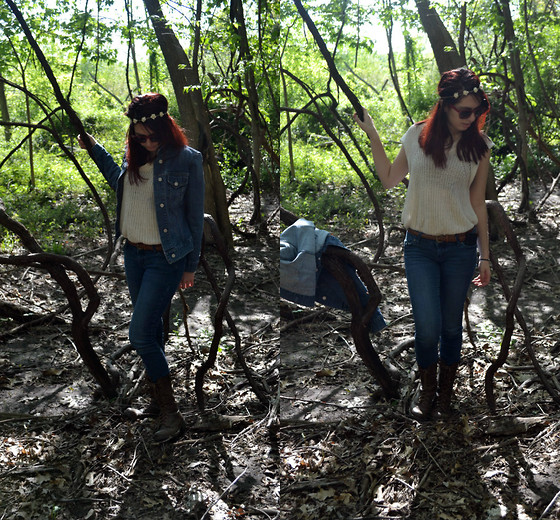 Gabriela Rojas - Goodwill Jean Jacket, Forever 21 Sweater, Journey's Combat Boots - Find me in the woods