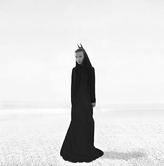 JIM B - Jimb Coat, Rick Owens Black Bull Horn Head Piece - The motive changes like the wind