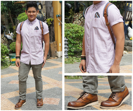 Xavier Cruz - Springfield Button Down Polo, Forever 21 Jeans, Forever 21 Pocket Square, Japan Vintage Wooden Shoe - Summer School