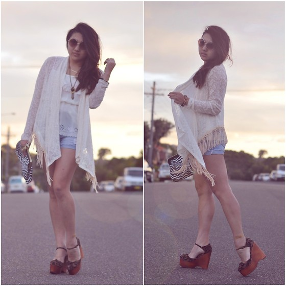 Karen - Sportsgirl Lace And Fringe Bedjacket, Jeffrey Campbell Leopard Wedges, Bardot White Cami, Lee Denim Shorts, Sportsgirl Clutch - Fringe matter.