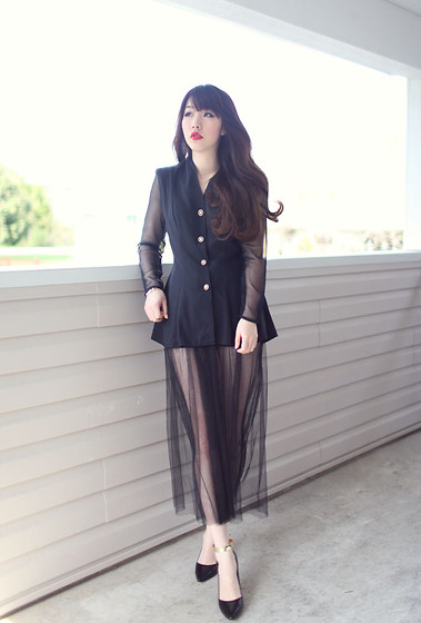 Ivy Xu - Vintage Top, Zara Heels - Black and see through