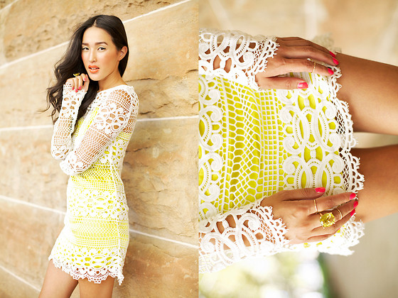 Nicole Warne - Sass And Bide Lace Dress, Claire Aristides Ring - NEON