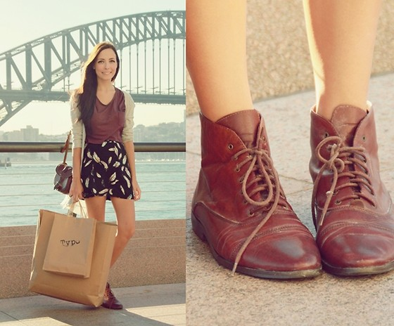 Breanne S. - Club Couture Maroon T Shirt, Vintage Lace Up Boots - I heart Typo