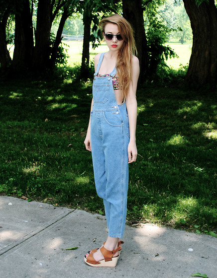 Megan Brigance - Thrifted Overalls, Forever 21 Bandeau, Urban Outfitters Platform Sandals, Charming Charlie Glasses - Overalls