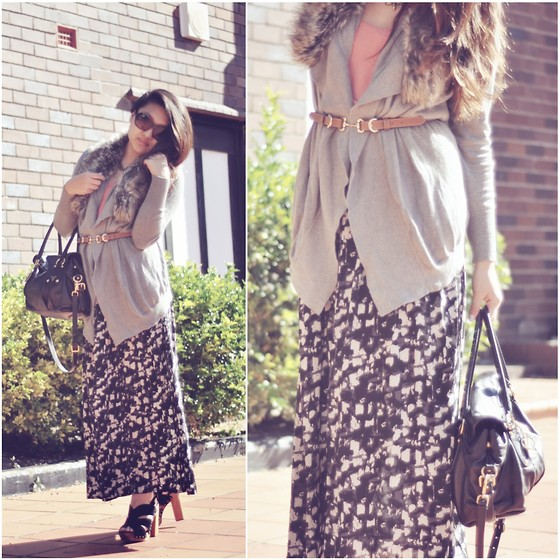 Karen - Shiek Fur Collared Cardigan, Bardot Shoes, Prada Bag - Winter maxi.