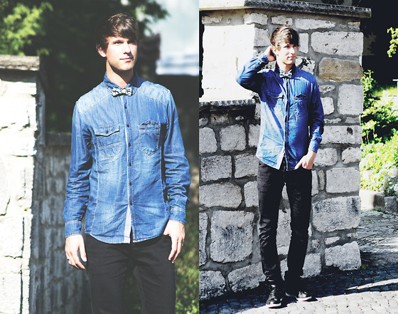 Lucas Lishke - Hallinger Blue Denim Shirt, H&M Black Denim Pant - Garden Boy