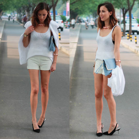 Nina Maya - H&M Knit Top, H&M Tailored Shorts, Nina Maya Sleeveless Blazer, Asos Baby Blue Clutch - WHITE ON WHITE