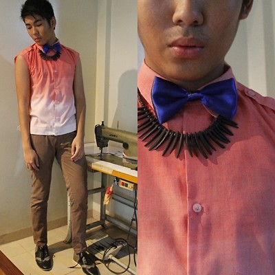 Dominic Cuerpo - Diy Ombre Shirt, Bench Chino Pants, Thrifted Tribal Necklace, Thrifted Bow Tie, Oxford Shoes - My emotions will fade like this shirt