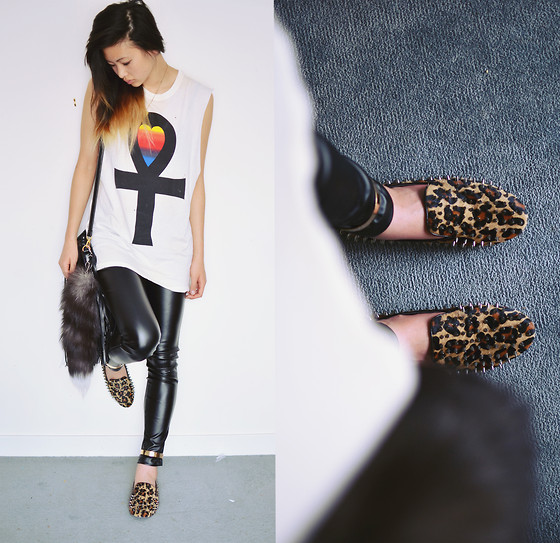 Alyssa Lau - Unif Tank, Sheinside Studded Leopard Print Loafers, Goodnight Macaroon Faux Leather Pants, Romwe Fringe Bag, 2020 Ave Faux Fur Key Chain - Neopolitan Dreams