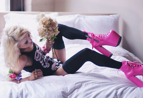 Rachel Lynch - Unif Pink Hellbounds, American Apparel Black Thigh Highs, Topshop Flower Cuff, Dolls Kill Pink Skull Braclet, Wildfox Couture Skelly Suit - Pink and blonde sunshine