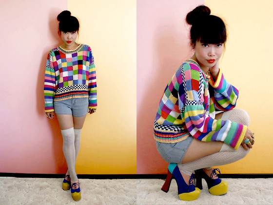 Toshiko S. - Bombshell Shocked Vintage 80s Colorblock Sweater, Hammer Denim Shorts, Forever 21 Pointelle Knit Over The Knee Socks, Bumper Colorblock Chunky Oxfords - Groovy, Baby!
