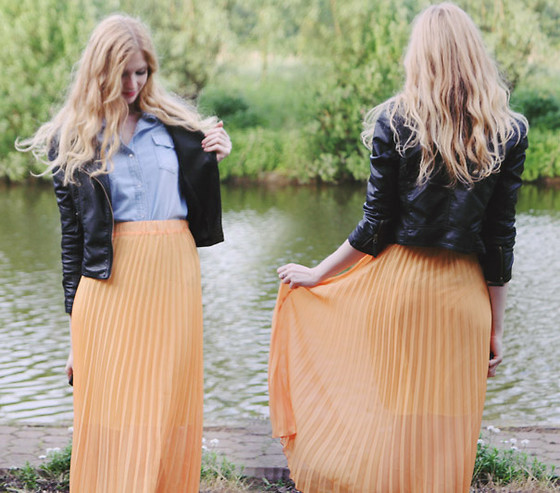 Zuzi * - Armani Exchange Orange Maxi Skirt, Denim Shirt, Faux Leather Jacket - Orange maxi skirt