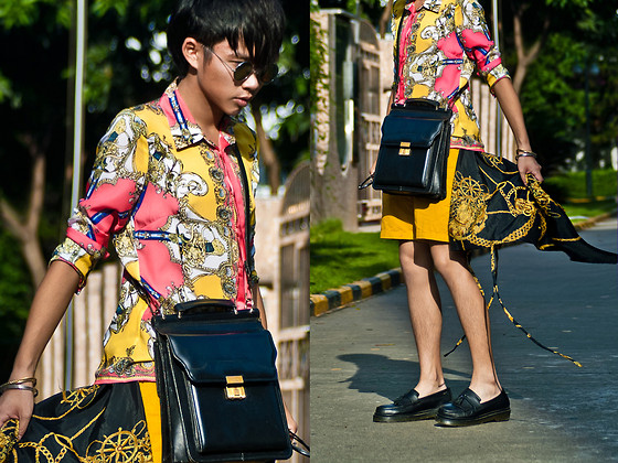 Judas Lee - D&G Baroque Shirt, Vintage Bag, Vintage Chain Shirt, Zara Yellow Shorts, Hare Shoes - You like your girls INSANE