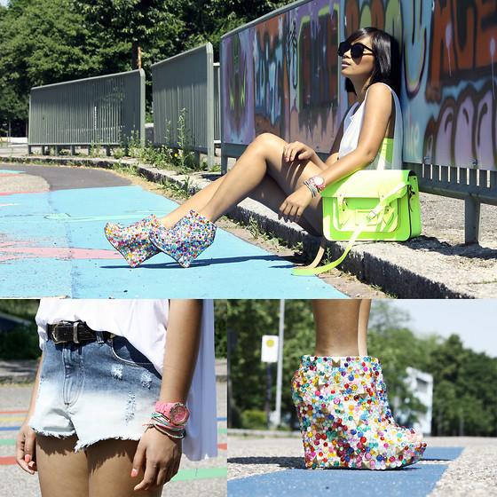 Anjelica Lorenz - Haus Of Price Candy Shoes, Zara Shorts, The Cambridge Satchel Company - DIP DYED NEON CANDIES.