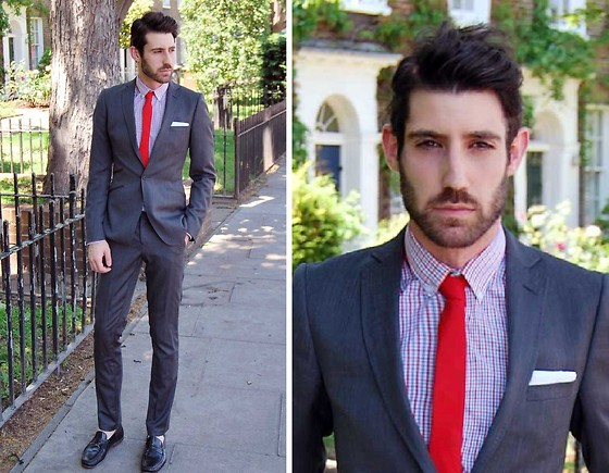 Adrian Cano - Charcoal Suit, Red Skinny Tie, Black Leather Loafers, Checked Shirt - I'll meet you at 14:30