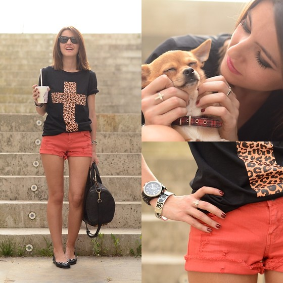 Alexandra Per - Blanco Shorts, Romwe T Shirt, Marc By Jacobs Flats, Alexander Wang Bag - Leopard cross